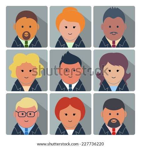 Set of square avatar icons with businessmen and businesswomen in formal wear - stock vector