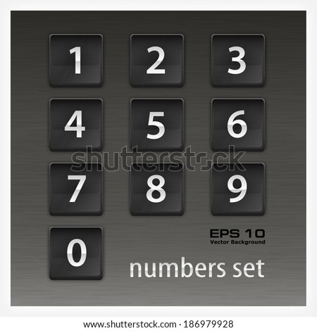 Set of square buttons with number on black, vector illustration