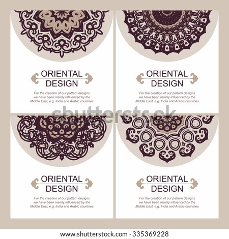 Set of square cards templates with ornate oriental patterns and with place for your text. Mandala forms. Lace ornament - stock vector