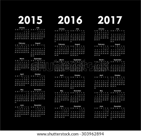 Set of square european 2015, 2016, 2017 year vector calendars. - stock vector