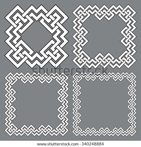 Set of square frames, rectangular patterns. 4 decorative elements for design with stripes braiding borders. White lines with black strokes on gray background. - stock vector
