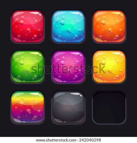 Set of square glossy elements for game or web design. Colorful glassy buttons with bubbles - stock vector