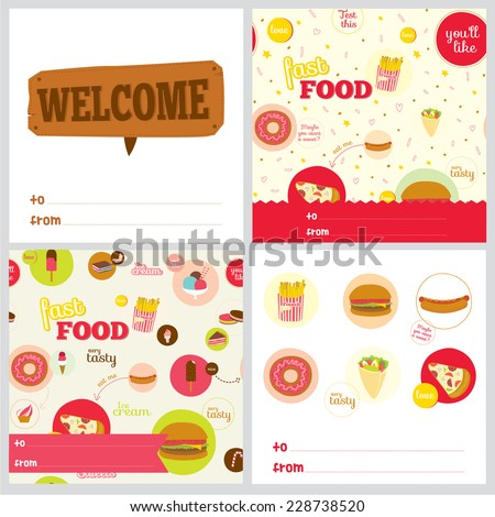 Set of square greeting cards with food pattern and fast food icons. Icons of pizza, hamburger, cheeseburger, hot dog, donuts, sandwich, desserts, ice cream, cakes for restaurants, cafes, on line shop. - stock vector