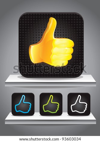 set of square icons with best choice signs in different colors - vector illustration - stock vector