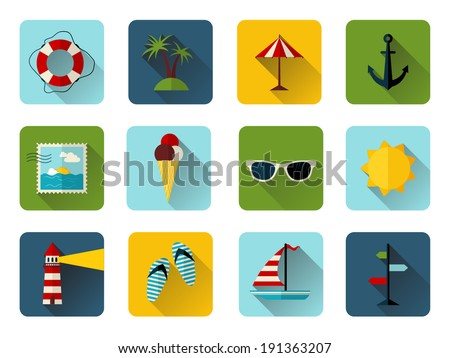 Set of 12 square icons with long flat shadow. Colorful summer icons for your design isolated on white background.