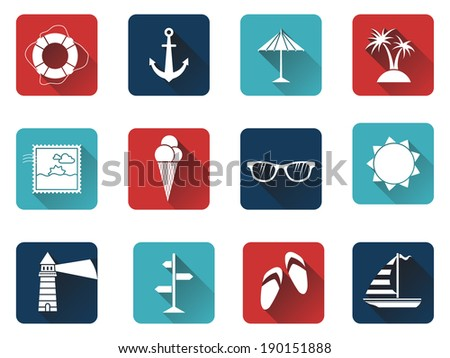 Set of 12 square icons with long flat shadow. Sea summer icons for your design isolated on white background. White silhouettes on colored icons. - stock vector