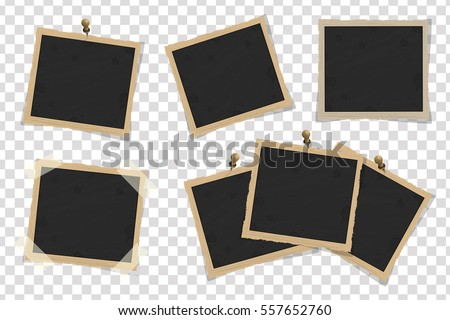 Set of square old vintage frames template with shadows isolated on transparent background. Vector illustration