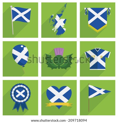 set of square scotland icon decorations with long shadows, isolated on white