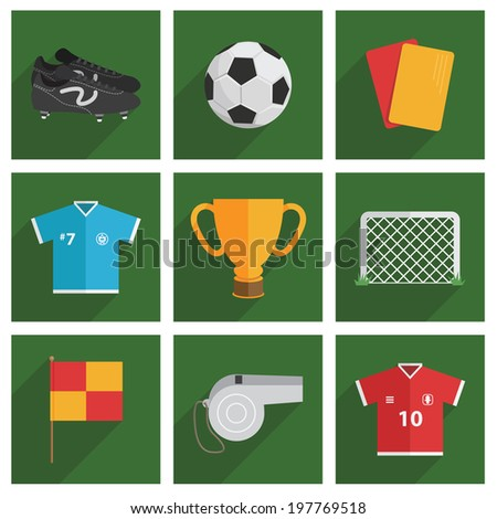 set of square soccer icons with long shadow - stock vector