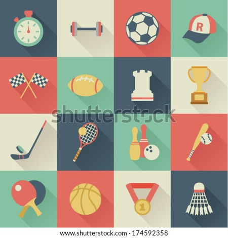 set of square sport icons - stock vector