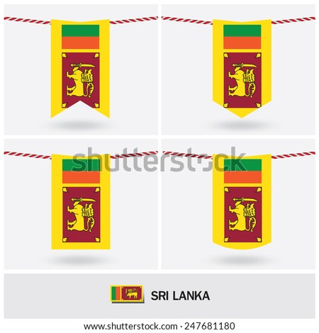 Set of Sri lanka flag. vector illustration  - stock vector