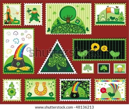 Set of St. Patrick mail's elements (postage, postmark), vector illustration - stock vector