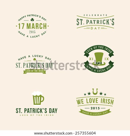 Set of St. Patrick's Day card design. Vintage holiday badge design - stock vector