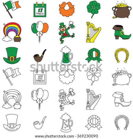 Set of St. Patrick's Day icons isolated on white background. Vector doodle illustration. - stock vector