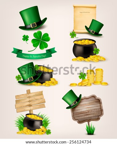 Set of St. Patrick's Day related icons. Vector. - stock vector