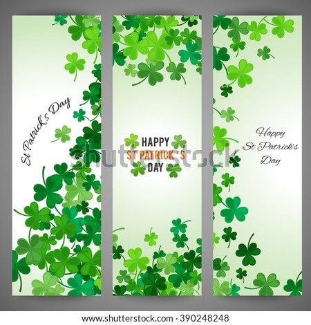 Set of St Patricks Day banners. Vector illustration for lucky spring design with shamrock. Green clover wave border isolated on green background. Ireland symbol pattern. Irish header for web site. - stock vector