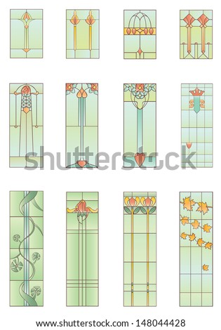 Set of stained-glass leaded windows of nature