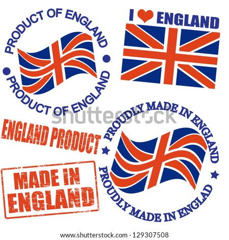 Set of stamps and labels with the text made in England written inside - stock vector