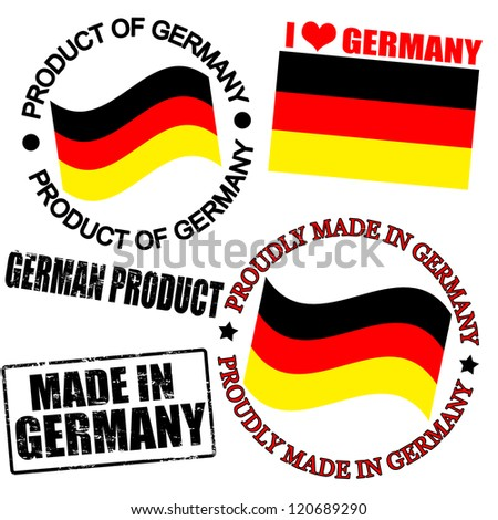 Set of stamps and labels with the text made in Germany written inside - stock vector