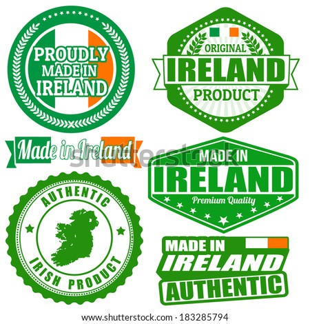 Set of stamps and labels with the text made in Ireland written inside on white background, vector illustration