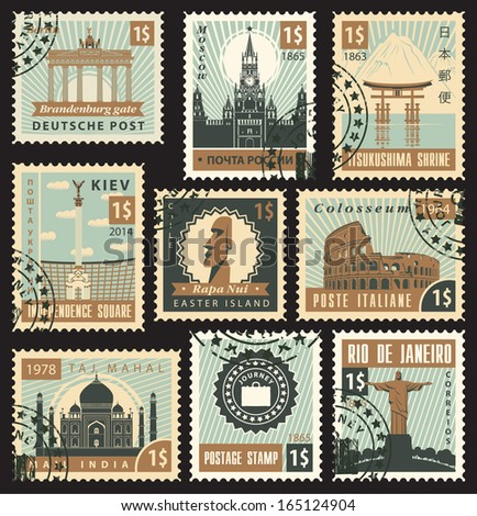 set of stamps from different countries with architectural landmarks - stock vector