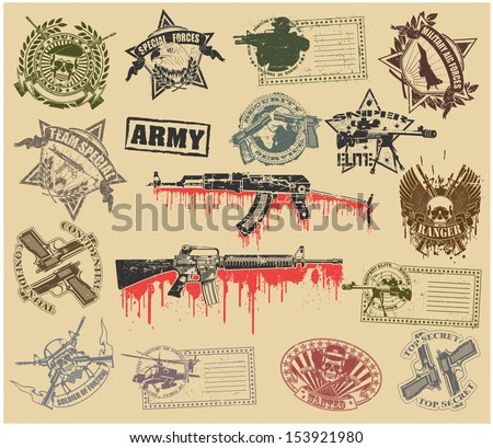 Set of stamps of military symbols - stock vector
