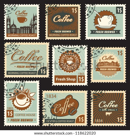 set of stamps on the theme of coffee - stock vector