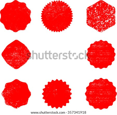 Set of Stamps . Red Stamps . Grunge Rubber Texture Stamp . Distressed Stamp Texture . Post Stamp Collection . Vector Stamps . Circle Stamps . - stock vector