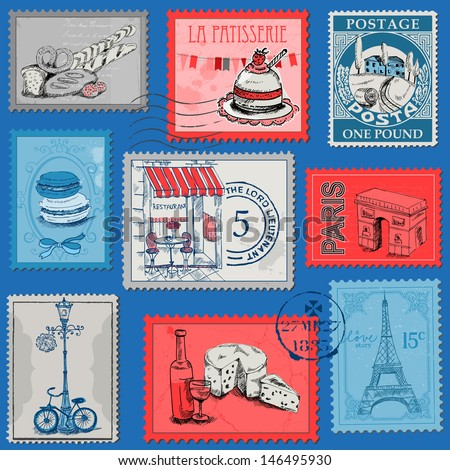 Set of Stamps - Vintage Paris and France - for design and scrapbook - in vector - stock vector