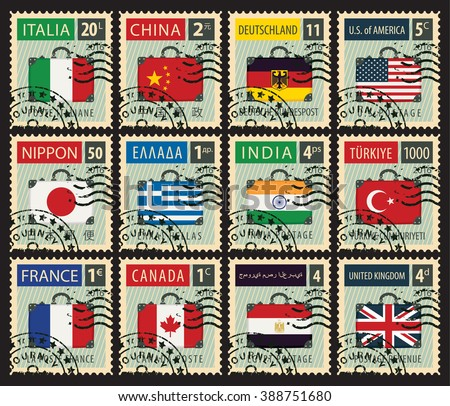 set of stamps with a travel suitcase with flags of different countries - stock vector