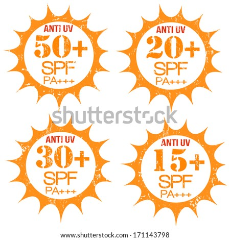 Set of stamps with Anti-UV  50+, 20+, 30+, 15+ SPF PA+++, on white, vector illustration - stock vector