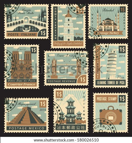 Set of stamps with architectural historical sites - stock vector