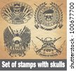 Set of stamps with skulls - stock