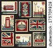 set of stamps with the Union Jack, Parliament, Big Ben and London - stock vector