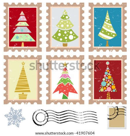 set of stamps with tree design - stock vector