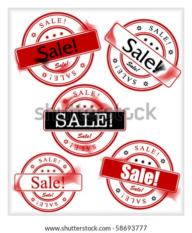 Set of stamps with word sale - stock vector