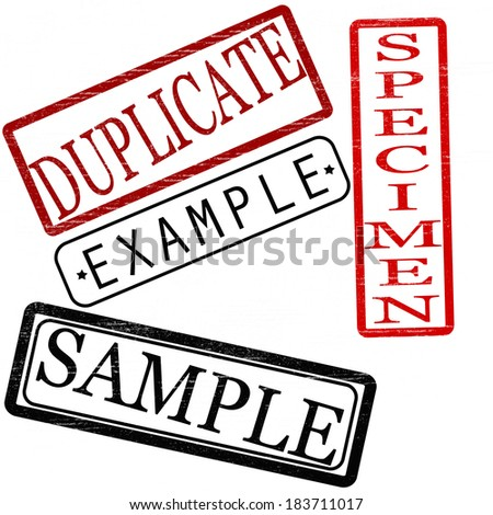 Set of stamps with words duplicate,example,specimen and sample inside,vector illustration