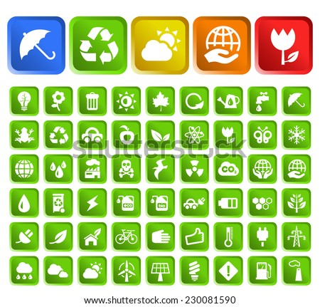 Set of 50 Standard Quality Ecology Icons with Square Colored Buttons on White Background. - stock vector