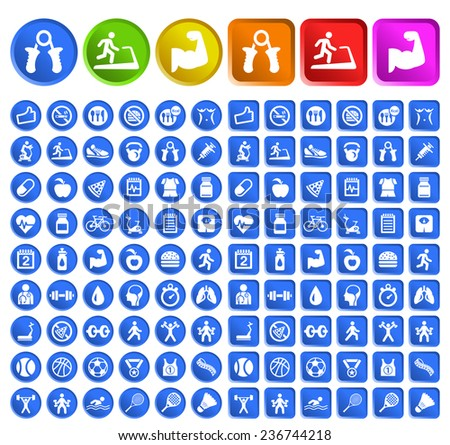 Set of Standard Quality Fitness Icons with Circular and Square Colored Buttons on White Background ( isolated elements ). - stock vector