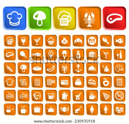 Set of 50 Standard Quality Food and Drink Icons with Square Colored Buttons on White Background. - stock vector