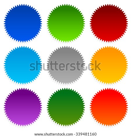 Set of starburst, price flash shapes on white. - stock vector