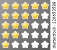 Set of starry rating buttons - stock vector