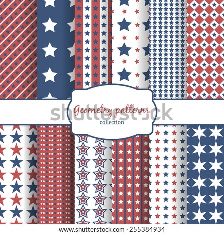 Set of stars and stripes pattern patterns. Row, line and diagonal and geometry. Vector illustration - stock vector