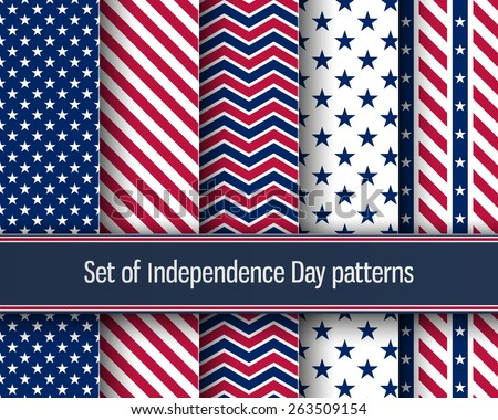 Set of stars and stripes seamless patterns. USA Independence day festive vector repeatable textures based on american flag. - stock vector