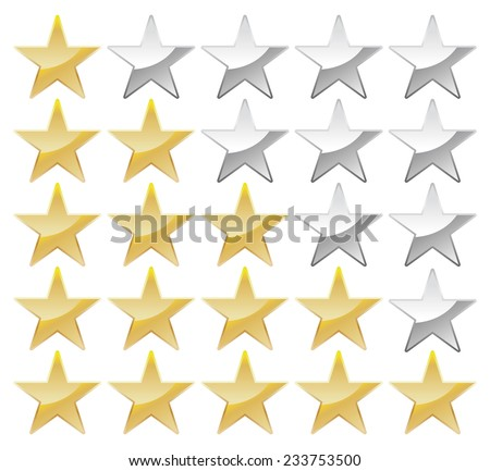 Set of stars, gold and grey - stock vector