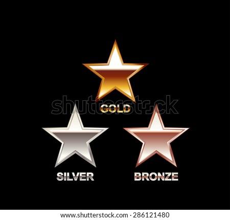 Set of Stars. Gold, Silver, Bronze Star. Star symbol. Polish star. Star illustration.  - stock vector