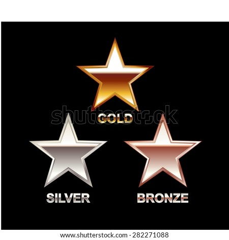 Set of Stars. Gold Star. Silver Star. Bronze Star. Star symbol. - stock vector
