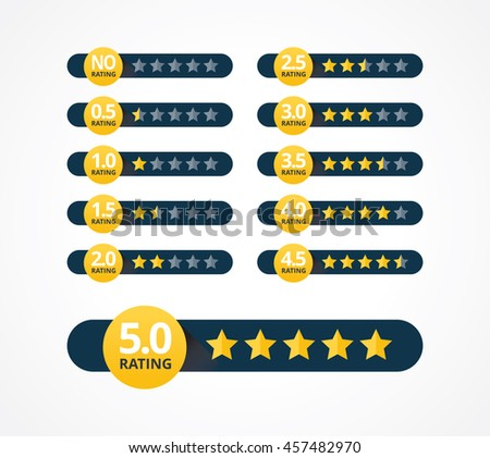 Set of stars rating design elements. Kit of star shapes for ranking interface. Voting symbols from zero to ten points. Vector illustration in flat style. - stock vector