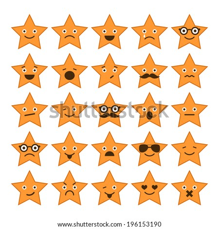 Set of stars with different emotions, happy, sad, smiling icons for design - stock vector