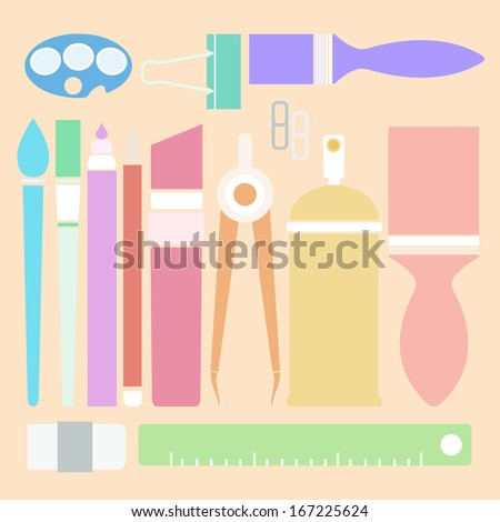 Set of stationary in flat color style, stock vector
